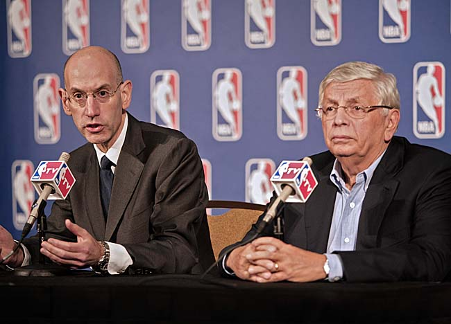 Adam Silver (left) and David Stern await word on a case review from the NLRB. (Getty Images)