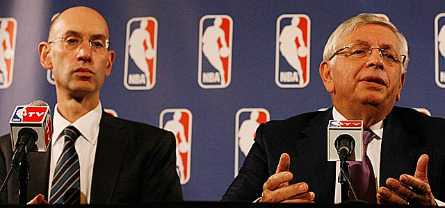 Adam Silver (left) and David Stern met with the National Labor Relations Board in N.Y. (Getty Images)