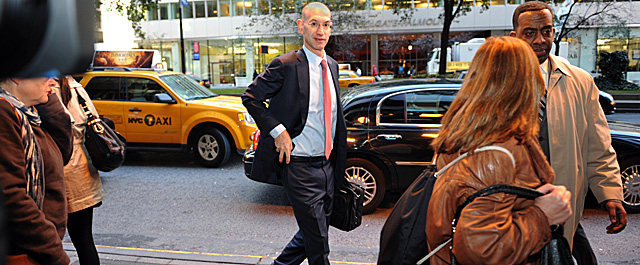 Adam Silver arrives for Friday's negotiations, which were expected to see significant progress. (Getty Images)