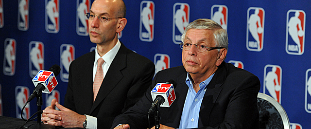Adam Silver (left) and David Stern face continual public scrutiny over the lockout and its effects. (Getty Images)
