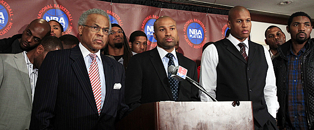 President Derek Fisher announces the NBPA rejects the 'final' offer owners made last week. (Getty Images)