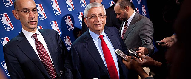 Adam Silver and David Stern worked the information front lines Sunday with a Twitter Q & A. (Getty Images)