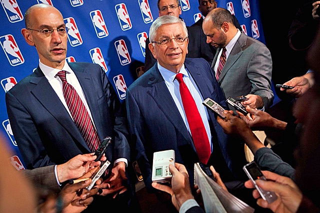 David Stern (center) and Adam Silver haven't spoken publicly since the players filed antitrust lawsuits. (AP)