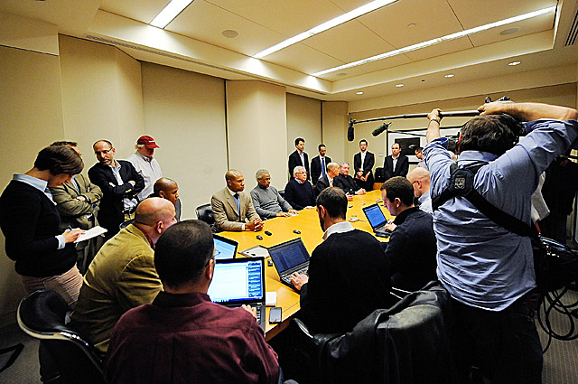 The NBA and its players hold a press conference after 3:30 a.m. to announce the tentative deal. (Getty Images)