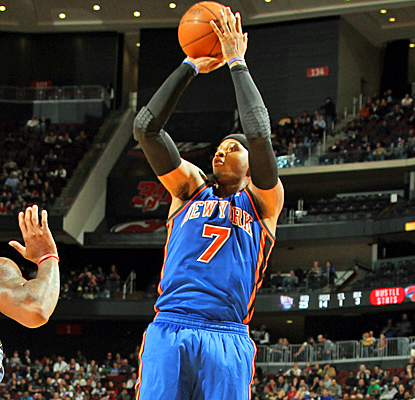 Carmelo Anthony paces the Knicks with 17 points in their win over New Jersey. (Getty Images)