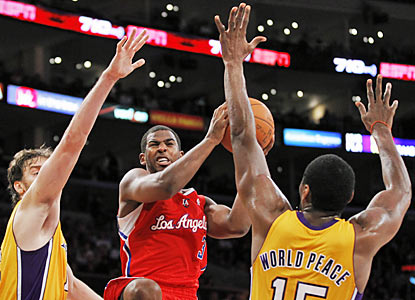 The Lakers need a lot more than World Peace to slow down CP3 (17 points, nine dimes, seven boards) in his Clips' debut. (AP)