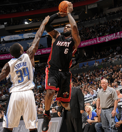 LeBron James scores 27 to lead all scorers in a losing effort for the Heat. (Getty Images)