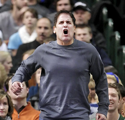 Mavericks owner Mark Cuban is far from pleased as he watches his team begin the season winless after two games. (AP)