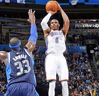 Russell Westbrook bounces back from a tough 0-13 shooting night to score 16 points in the Thunder's win. (Getty Images)