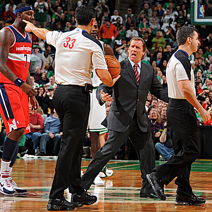 Head coach Flip Saunders is ejected 1:46 into the game against the Celtics as his Wizards fall to 0-5. (Getty Images)