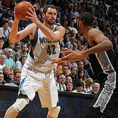 Kevin Love puts up 24 points and 15 rebounds for the Timberwolves in their win over the Spurs. (Getty Images)