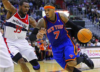 Carmelo Anthony helps the Knicks keep Washington winless, scoring 37 points with seven rebounds. (US Presswire)