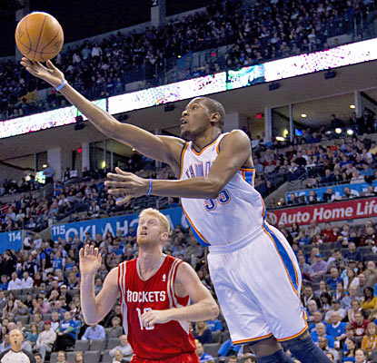 Kevin Durant drops 26 points as the Thunder embark on a stretch of five games in six nights with a win.   (US Presswire)