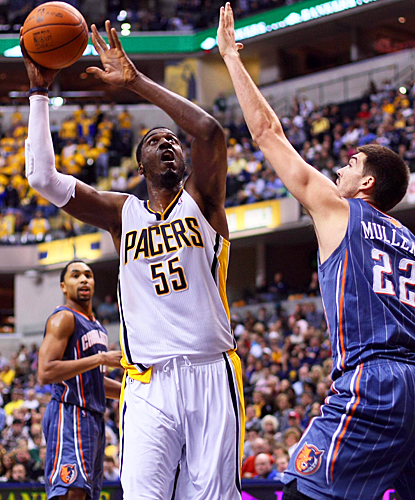Roy Hibbert lifts the Pacers over Charlotte with 20 points and eight rebounds. (US Presswire)