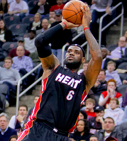 LeBron James returns to the Heat's lineup in a huge way, scoring 32 points against New Jersey. (US Presswire)