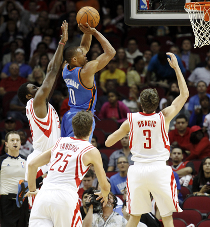 Thunder point guard Russell Westbrook adds 25 points and six assists in a close one at Houston. (AP)