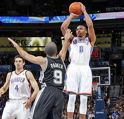 Russell Westbrook, with 13 points,  is one of six OKC players to score in double figures against the Spurs. (Getty Images)