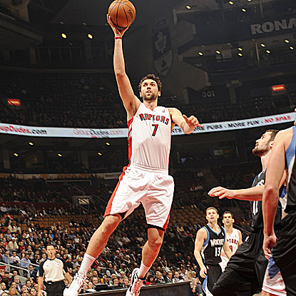 The Raptors' Andrea Bargnani punishes the Wolves with 31 points and nine rebounds. (Getty Images)