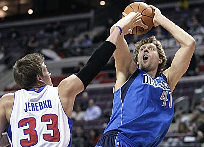Dirk Nowitzki scores 18 points in 28 minutes for Dallas, which is at .500 after losing four of its first five games. (AP)