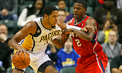 Danny Granger fights through Atlanta's defense for 24 points and five rebounds in the Pacers' win. (US Presswire)