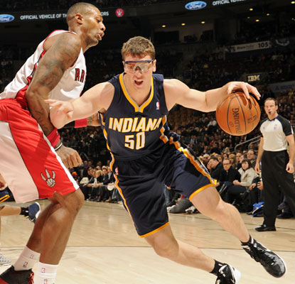 Tyler Hansbrough scores 13 points and is a perfect 7 for 7 from the free-throw line for the Pacers.  (Getty Images)