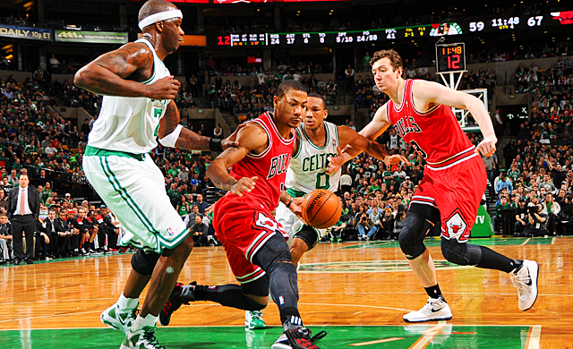 Derrick Rose and the Bulls are dribbling around the Celtics, who are slow out of the gate. (Getty Images)