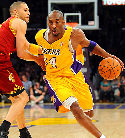 Kobe Bryant drives to the basket early and often, scoring 42 points against the Cavaliers. (Getty Images)