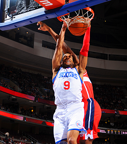 Andre Iguodala finishes a slam dunk, scoring two of his season-high 23 points against the Wizards. (Getty Images)