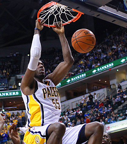The Pacers' Roy Hibbert slams the Celtics for 11 points and nine rebounds. (US Presswire)