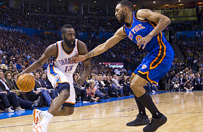 James Harden gives the Thunder a great effort off the bench, scoring 24 points against the Knicks. (US Presswire)