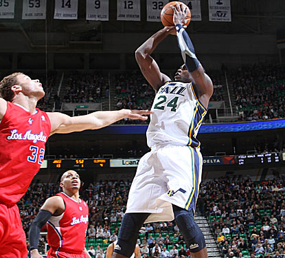 The Jazz's Paul Millsap scores a team-high 20 points and defensively holds the Clippers' Blake Griffin to just 10 points. (Getty Images)