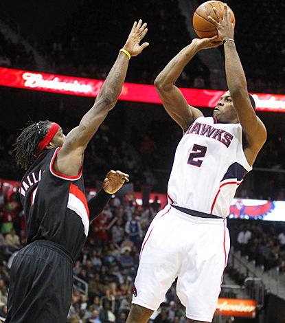 Joe Johnson paces the Hawks to their victory by scoring a game-high 24 points against Portland. (US Presswire)