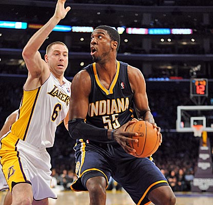 Roy Hibbert leads a balanced Pacers scoring attack with 18 points while also adding eight rebounds.  (Getty Images)