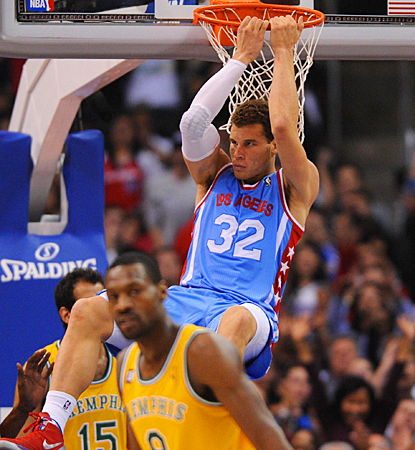 Blake Griffin follows through on a dunk against the Grizzlies during the second quarter. (US Presswire)
