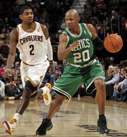 Ray Allen scores all of his 12 points in the third quarter in a close one against the Cavaliers. (Getty Images)