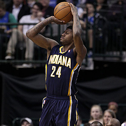 Paul George's seven 3-pointers in the game are one off the Pacers' franchise record held by Reggie Miller.  (AP)