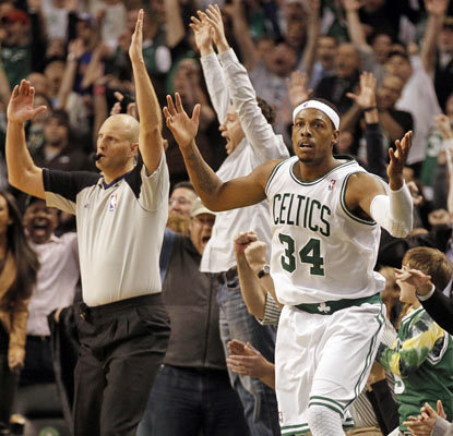Paul Pierce's desperation 3-pointer is waived off, but the Celtics are able to survive the Knicks anyway.  (AP)