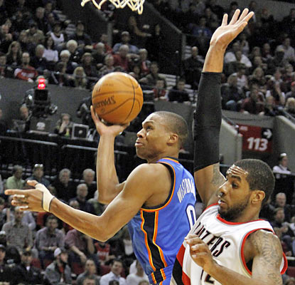 Russell Westbrook is tough to defend as he hurts the Blazers with 28 points, 11 rebounds and eight assists. (AP)