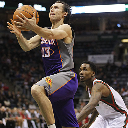 The Suns' Steve Nash celebrates his 38th birthday by scoring the game-winning basket with five seconds remaining in regulation. (AP)