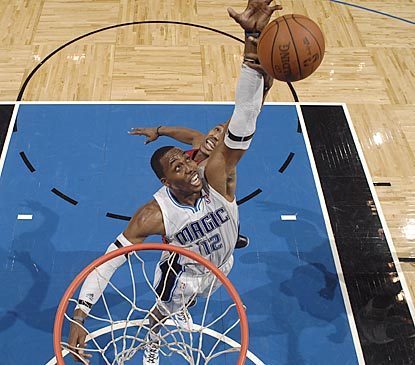 Dwight Howard dominates the inside again and records his sixth 20-20 performance of the young season.  (Getty Images)