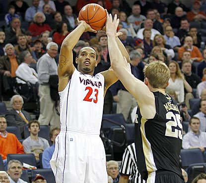 Mike Scott's 9-for-9 performance ties a UVA record. Eight of the shots are from 12 feet or beyond.  (US Presswire)