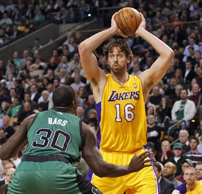 Pau Gasol does it all for the Lakers, gathering 25 points, 14 rebounds and one game-clinching block in overtime.  (US Presswire)