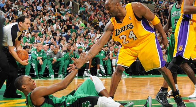 There's a healthy amount of respect between the old school Lakers, Celtics. (Getty Images)