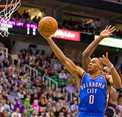 Russell Westbrook (28 points) averages over 30 against the Jazz in the last three games. (US Presswire)