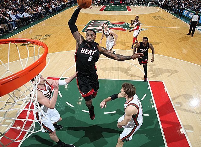 LeBron James leads the Heat in scoring with 28 ppg, in rebounding (8.2) and assists (6.8). (Getty Images)