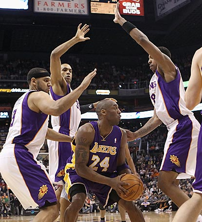 Phoenix's defense finds way to frustrate Kobe Bryant, who scores 32 points but commits 10 turnovers.  (Getty Images)