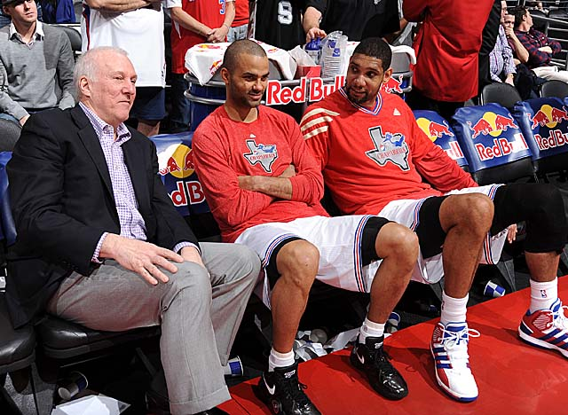 Gregg Popovich rests his veterans plenty, spelling Parker and Duncan a combined 33.6 mpg. (Getty Images)