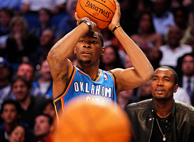 Durant did OKC proud at All-Star Weekend, earning MVP and runner-up in the 3-point contest. (Getty Images)
