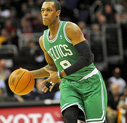 The Celtics' Rajon Rondo fails to score a point, but registers 11 assists against the Cavaliers. (US Presswire)