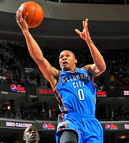 Russell Westbrook gets 22 points with 13 rebounds for his first double-double since February 6. (Getty Images)